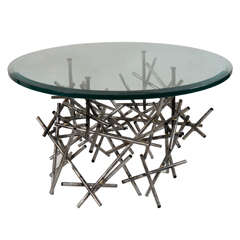 Original Custom Sculptural Coffee Table, in Textured Steel, by Lou Blass