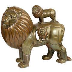 """Sergio Bustamante """"Group of Lions"""" Sculpture"""