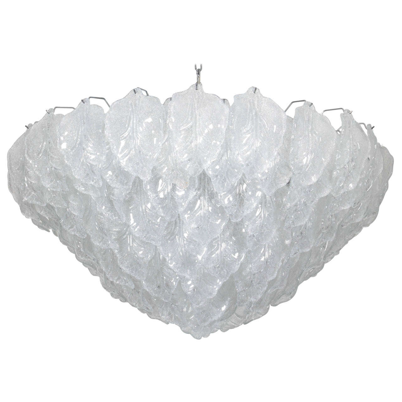 Italian Murano Semi Opaque White Glass Leaf Chandelier 42 Diameter For