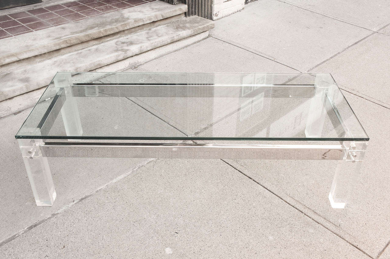 A vintage 70 39 s lucite and chrome glass topped coffee table for Waterfall design coffee table