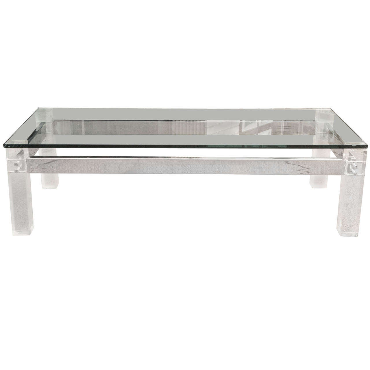 A Vintage 70s Lucite and Chrome Glass Topped Coffee Table For