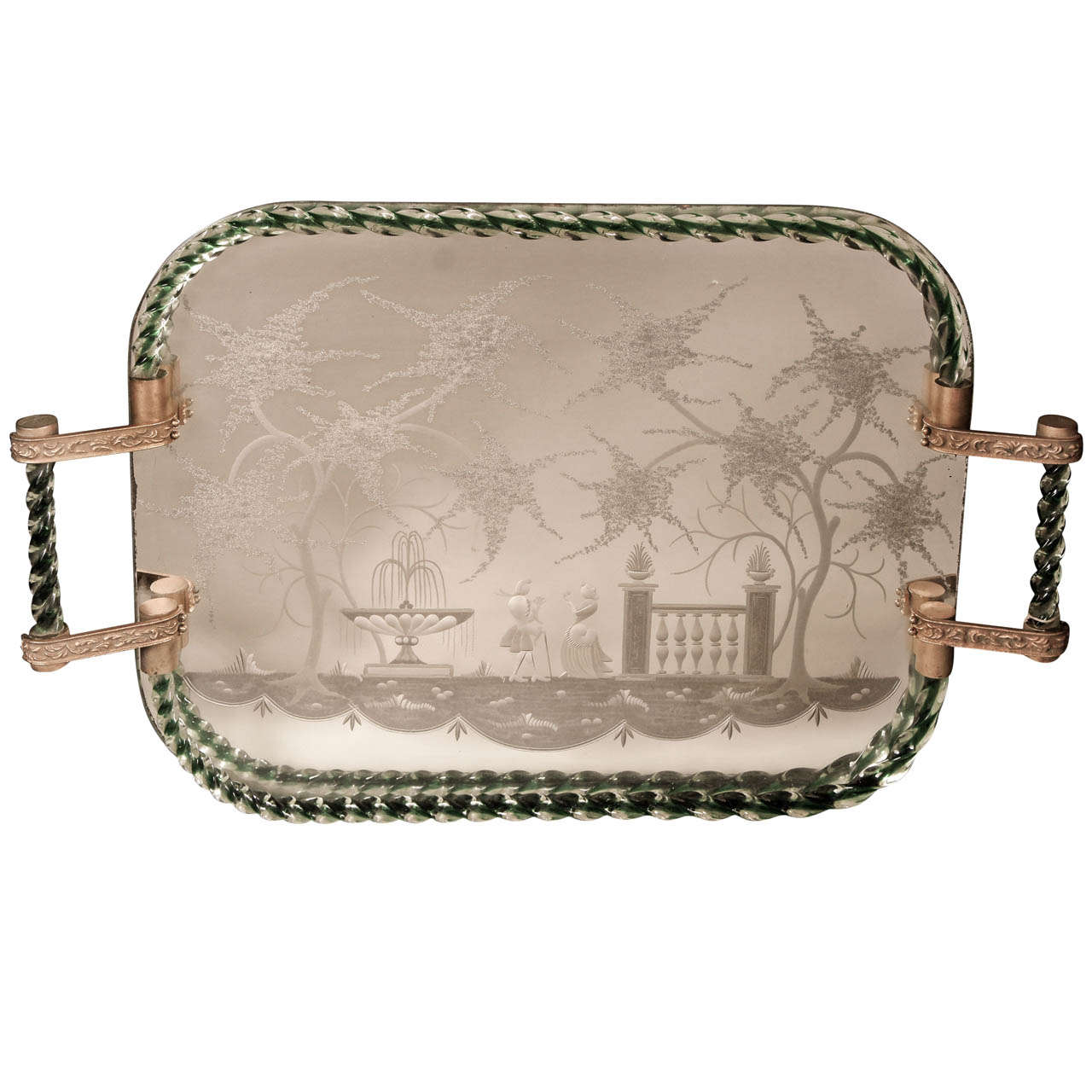 Venetian Mirrored and Clear Glass Tray
