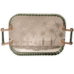 A Fine & Large Venetian Mirrored and Clear Glass Tray