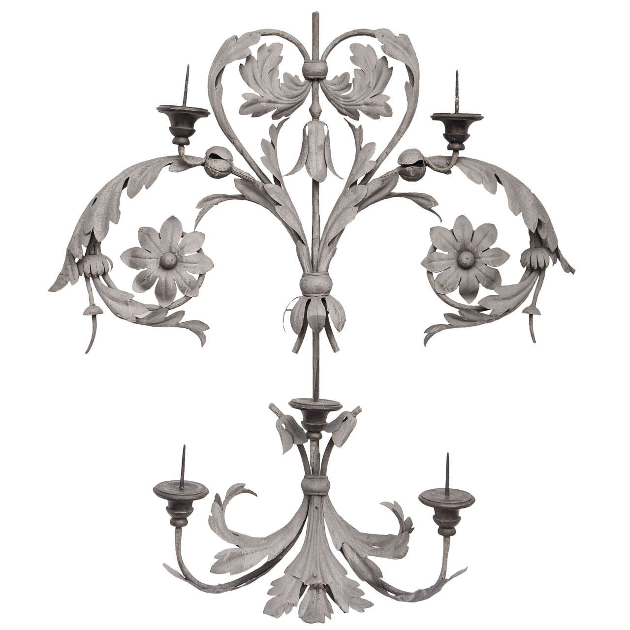 large baroque forged   wrought iron and wood 5 light