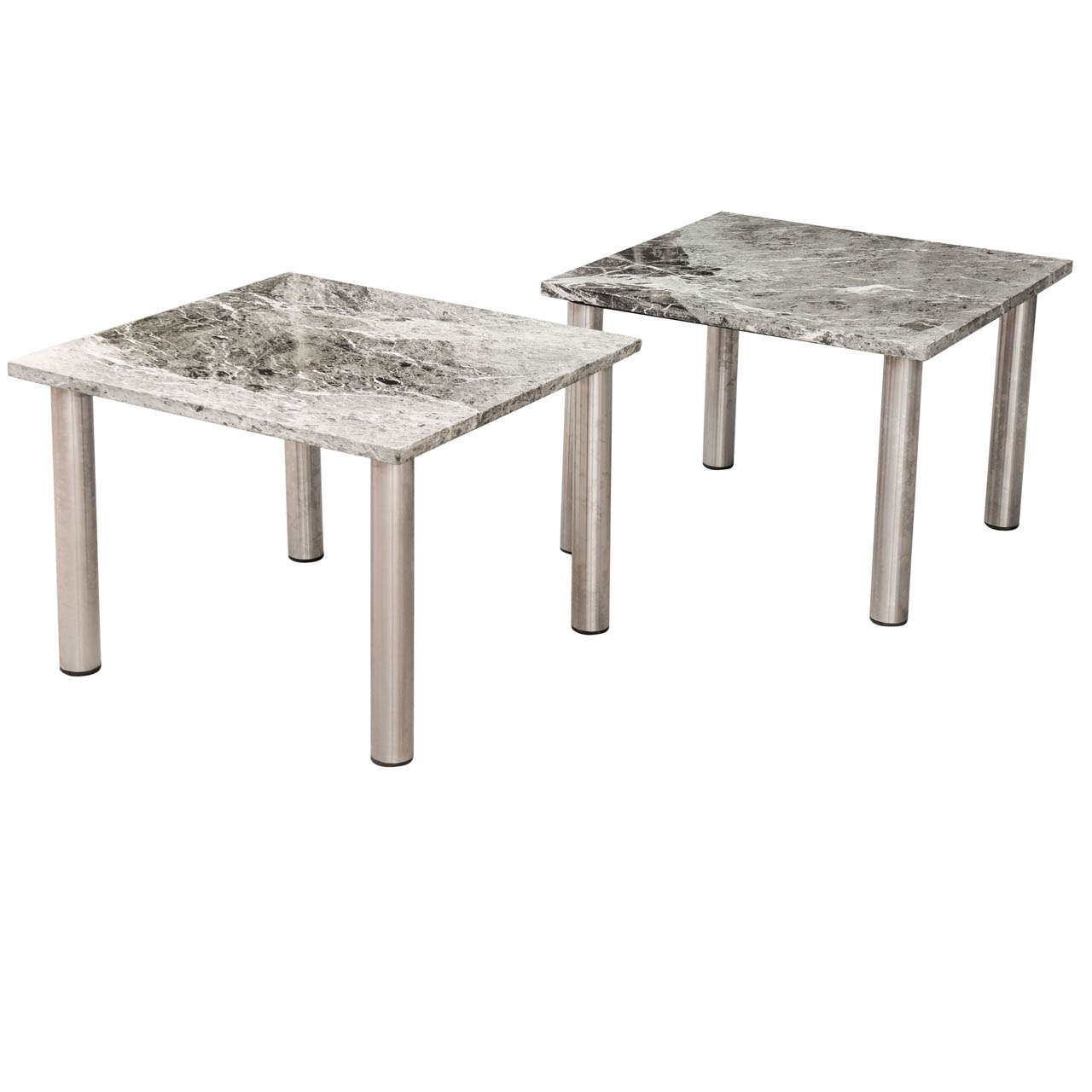 Pair of Vintage 1970s Stainless Steel and Marble Topped Coffee Tables