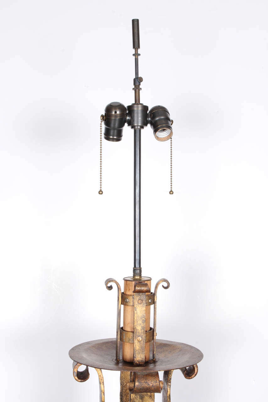 19th century french gilt wrought iron floor lamp for sale at 1stdibs. Black Bedroom Furniture Sets. Home Design Ideas