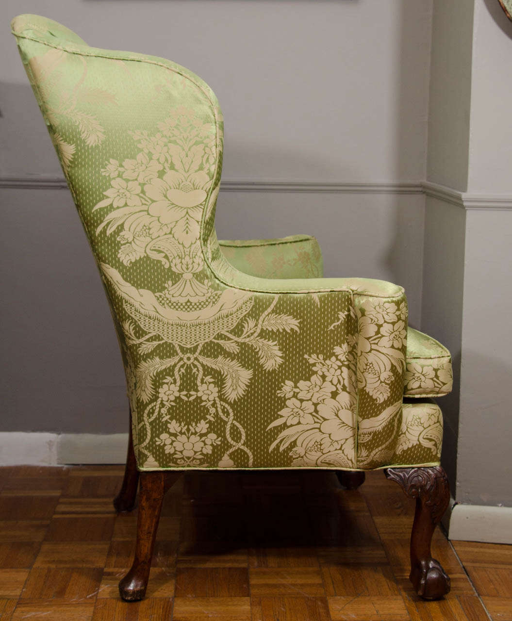 Mid-18th Century 18th Century Walnut Wing Chair For Sale