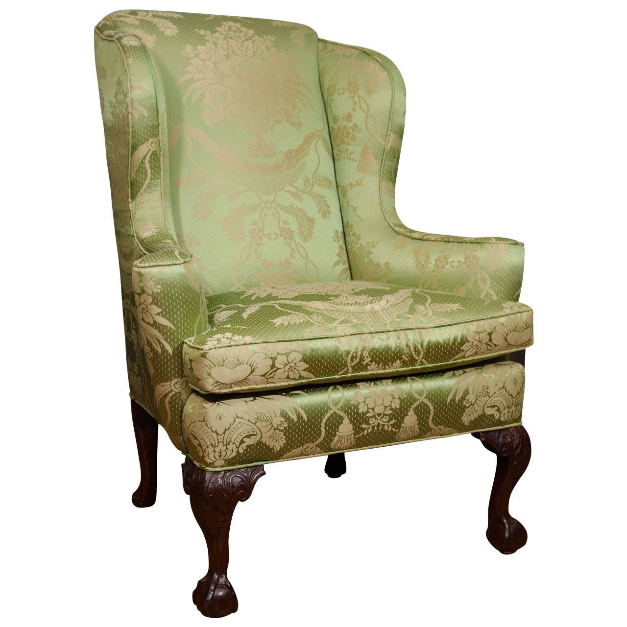 18th Century Walnut Wing Chair For Sale