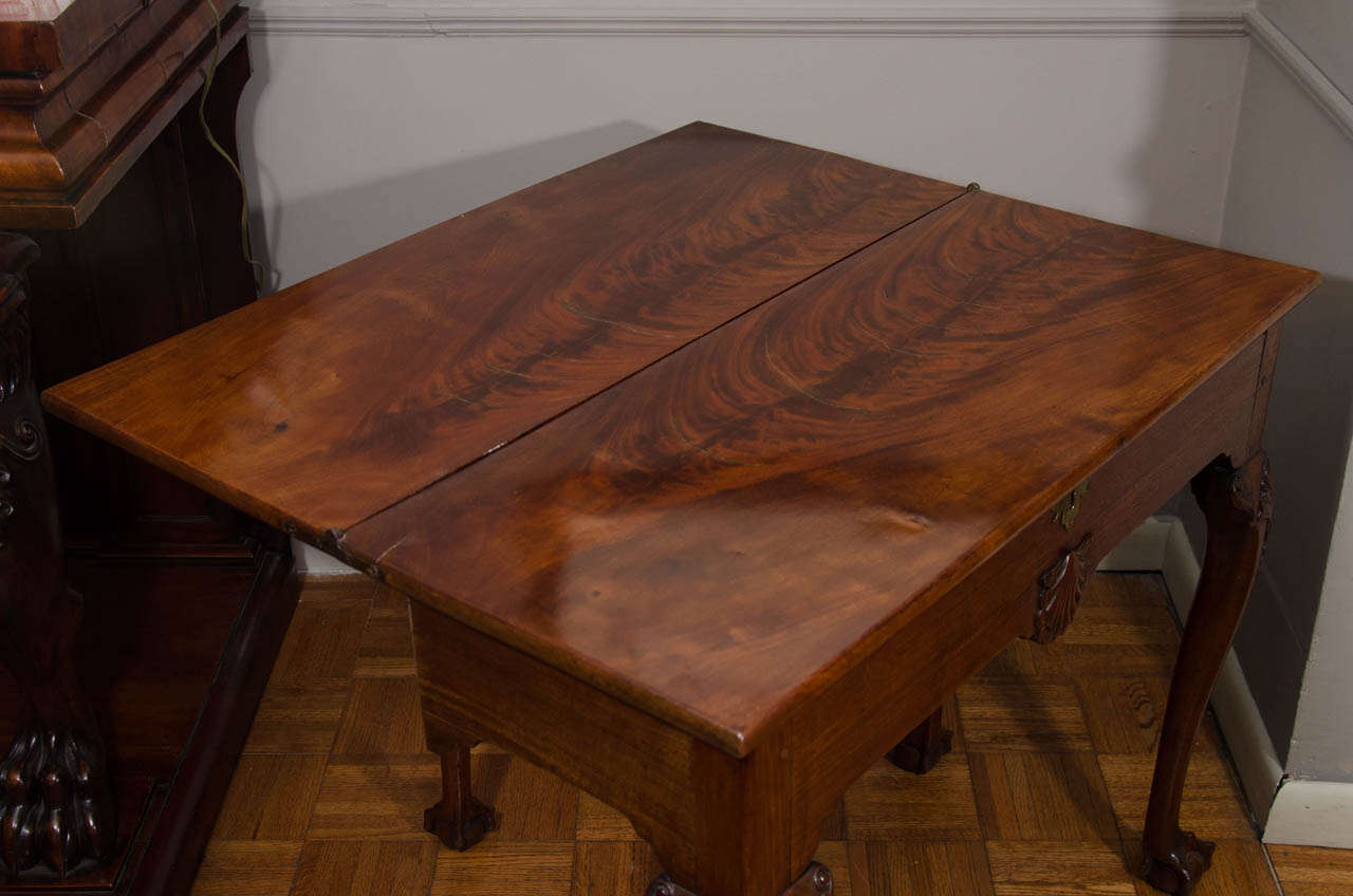 18th century irish mahogany rectangular top fold over card table for