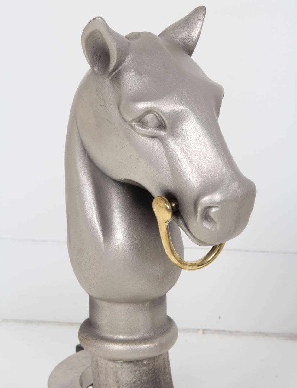 Pair of Satin Nickel Equestrian Andirons In Excellent Condition For Sale In New York, NY