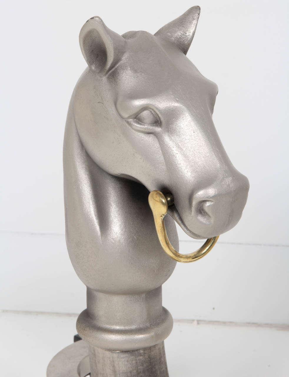 Pair of Satin Nickel Equestrian Andirons 5