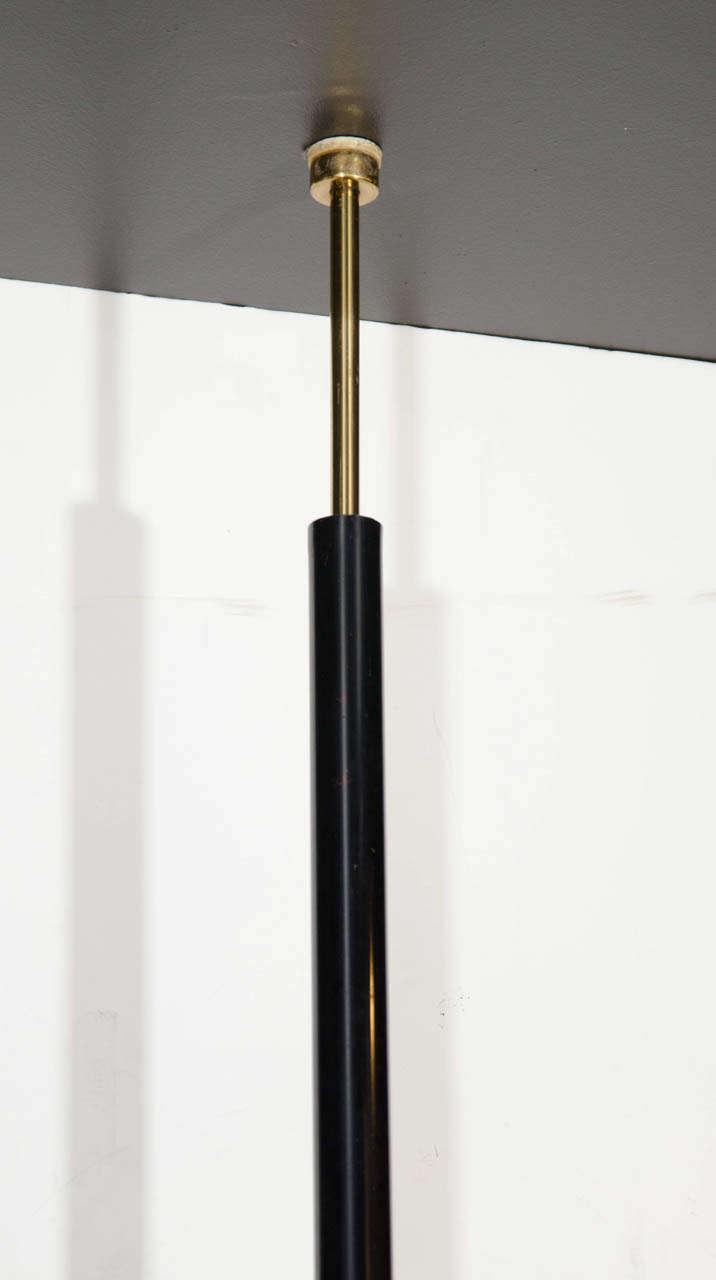 mid century modern brass and black enamel floor lamp w. Black Bedroom Furniture Sets. Home Design Ideas
