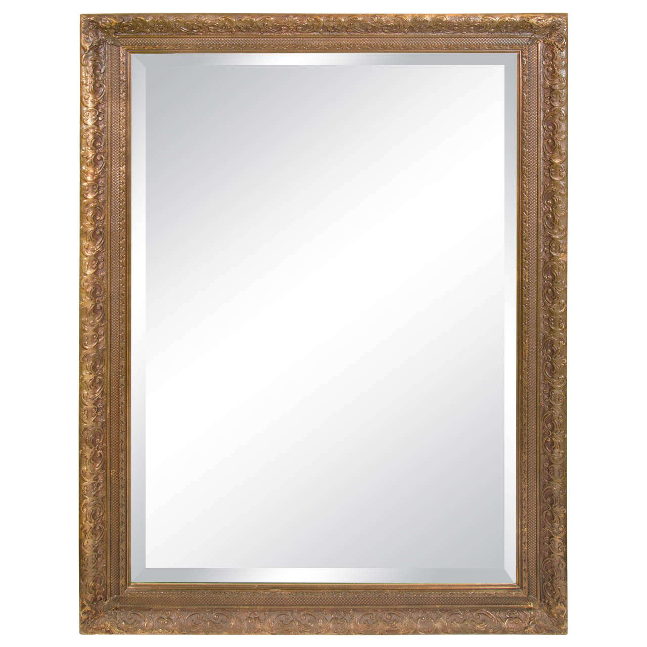 Elegant large italian antiqued gilt wood mirror with hand for Elegant mirrors