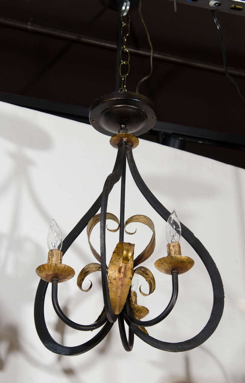 Elegant Fleur De Lis Chandelier With Stylized Latern Form