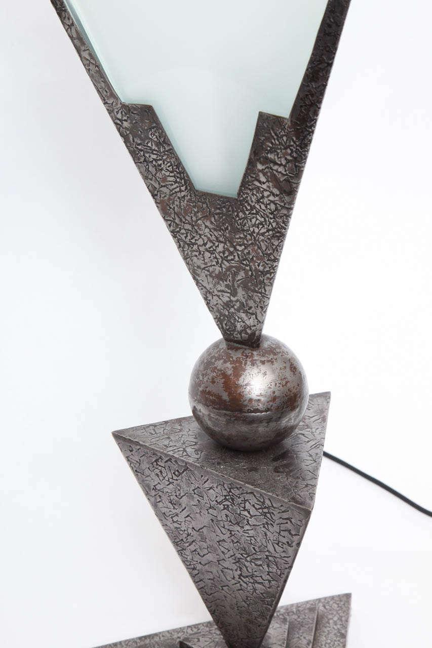John Salterini 1920s Art Deco Lamp In Wrought Iron And
