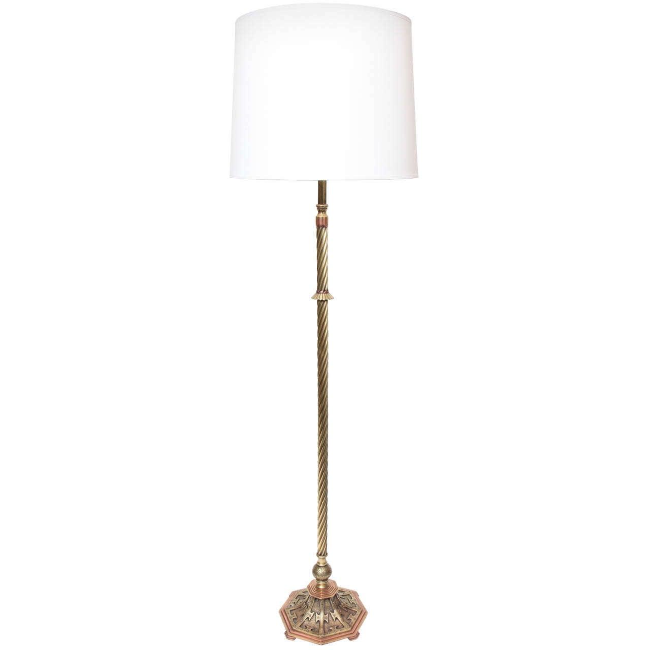 An exquisite 192039s art deco brass and bronze floor lamp for 1920 s wood floor lamp