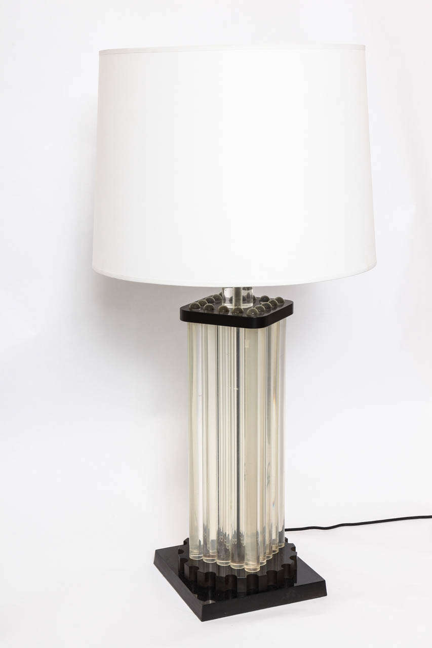 Table Lamp American Modernist Lucite and bakelite, 1930s New sockets and rewired Shade not included.