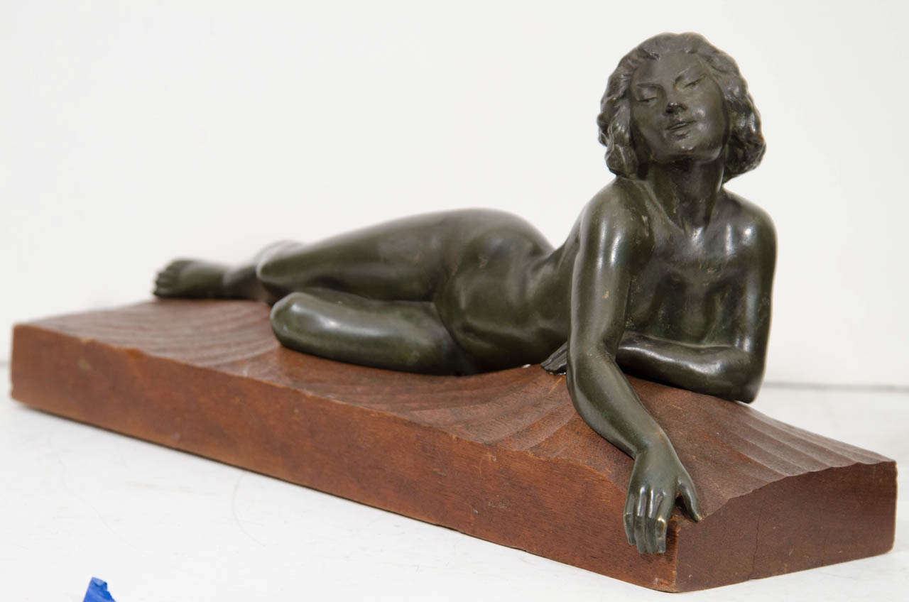 "An Art Deco Pair of Bronze Sculptures of ""Pan and Lover"" In Good Condition For Sale In New York, NY"