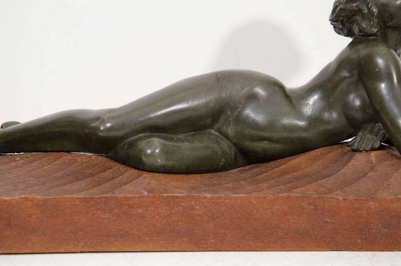 "An Art Deco Pair of Bronze Sculptures of ""Pan and Lover"" For Sale 1"
