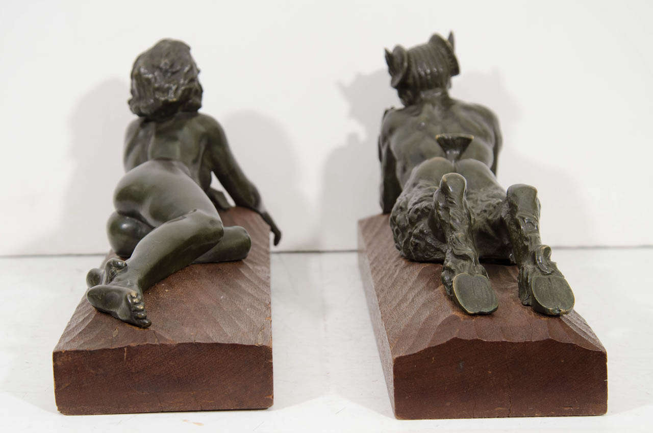 "An Art Deco Pair of Bronze Sculptures of ""Pan and Lover"" For Sale 2"
