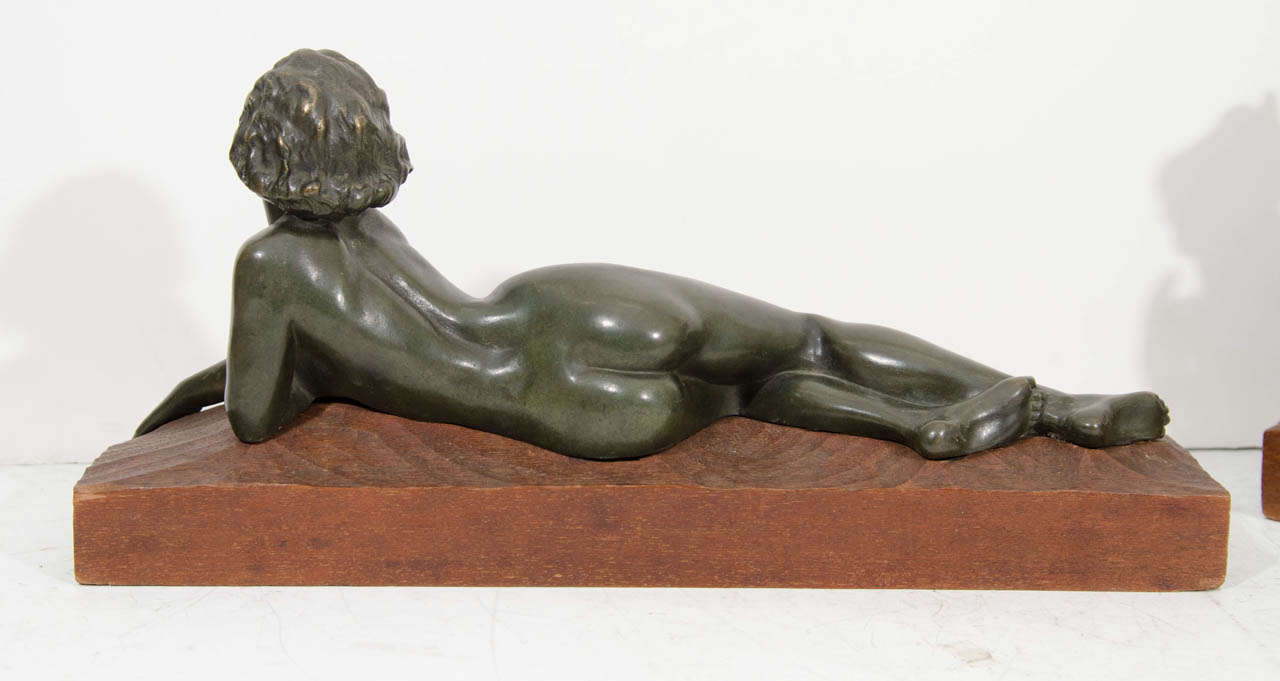 "An Art Deco Pair of Bronze Sculptures of ""Pan and Lover"" For Sale 3"