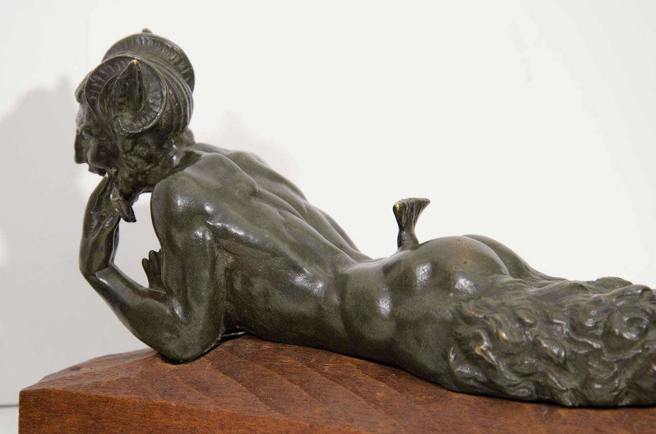 "An Art Deco Pair of Bronze Sculptures of ""Pan and Lover"" For Sale 4"