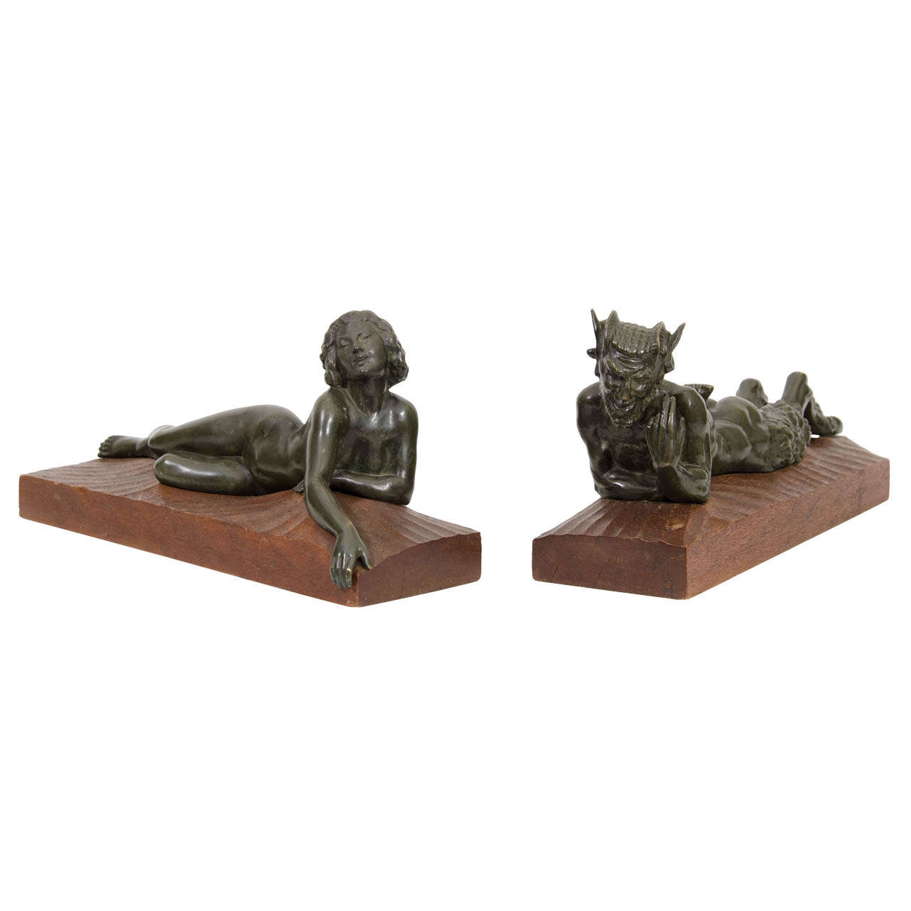 "An Art Deco Pair of Bronze Sculptures of ""Pan and Lover"" For Sale"