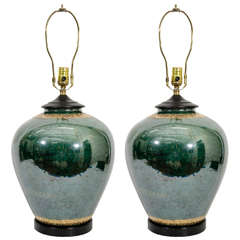 Mid-Century Pair of Malachite Colored Table Lamps