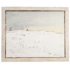 Oil on Canvas Impressionist Snow Scene by John Konstantin Hansegger