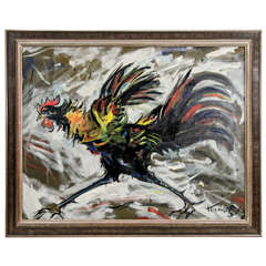 Oil on Canvas Painting of a Rooster by John Konstantin Hansegger