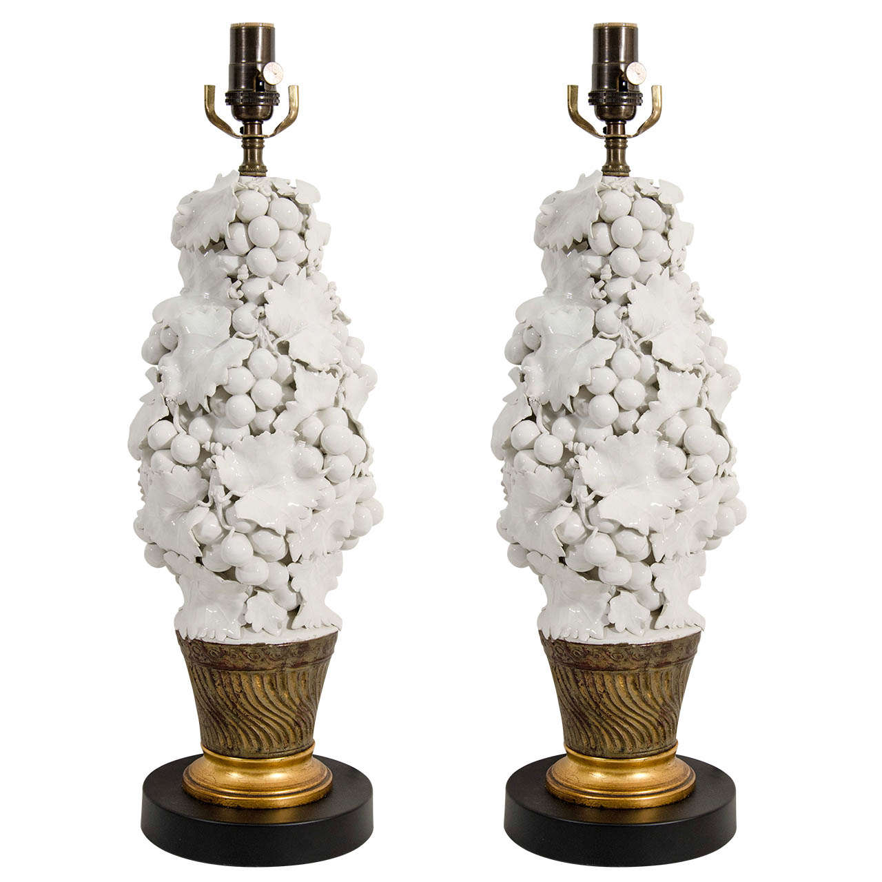 A Mid Century Pair of White Porcelain Fruit Relief Lamps