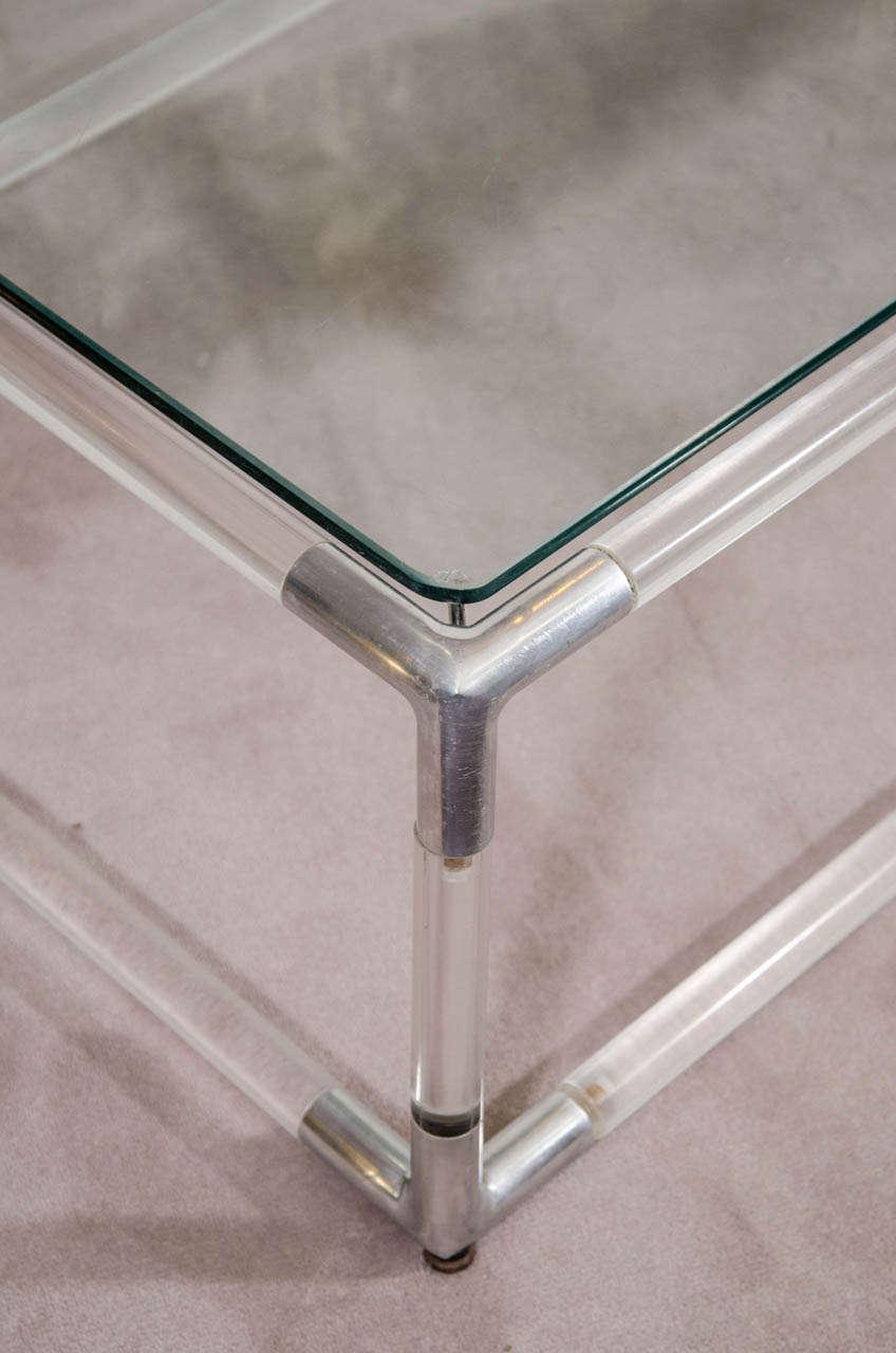 Rectangular Glass Coffee Table: Mid Century Lucite And Chrome Rectangular Coffee Table W