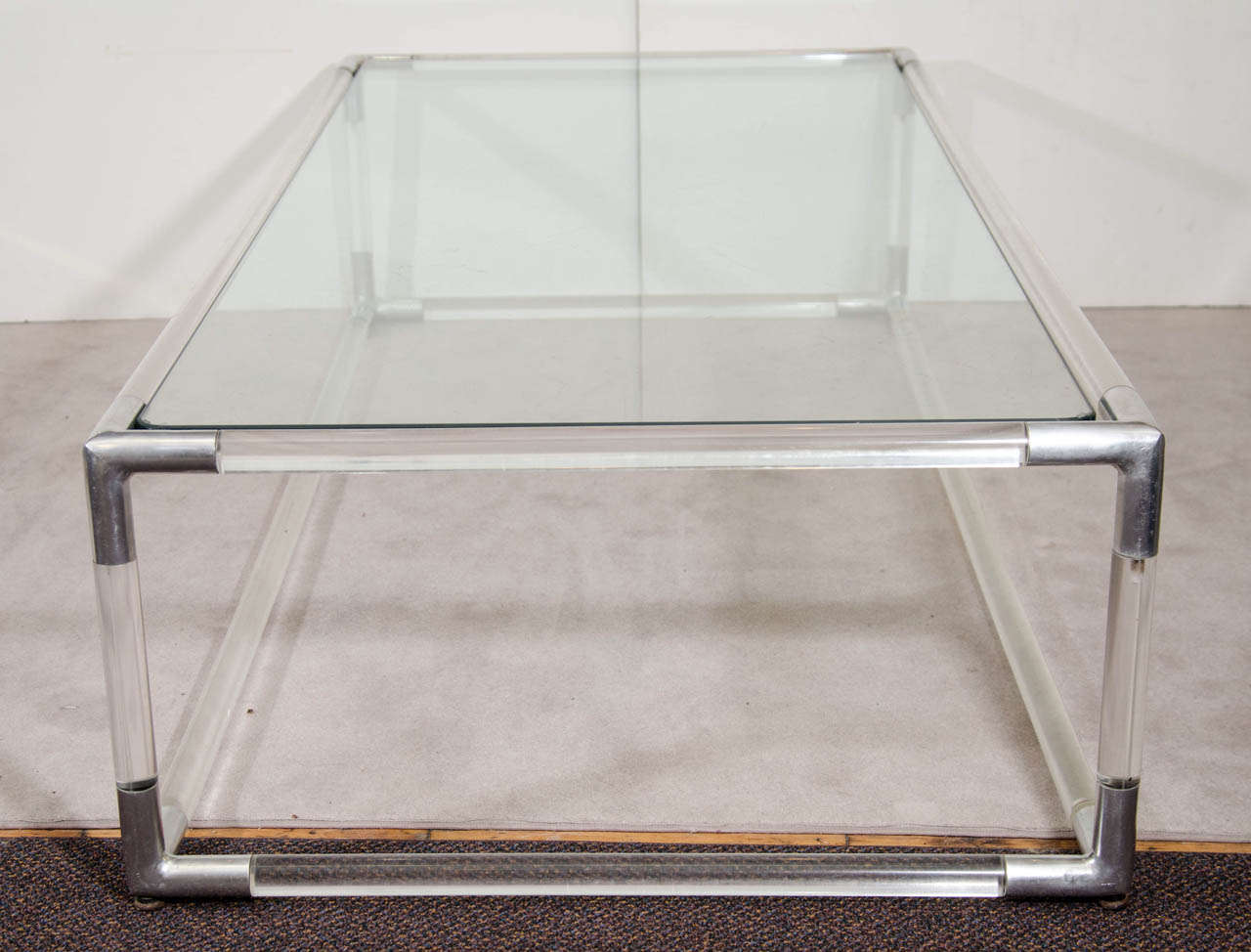 Mid Century Lucite And Chrome Rectangular Coffee Table W Glass Top At 1stdibs
