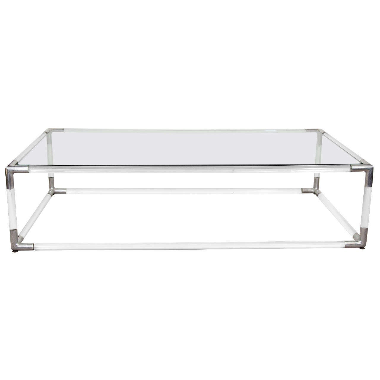 Emerson Rectangular Mod Swivel Coffee Table W Glass: Mid Century Lucite And Chrome Rectangular Coffee Table W