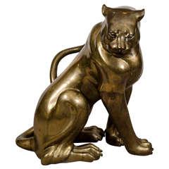 A Mid Century Brass Sculpture of a Panther