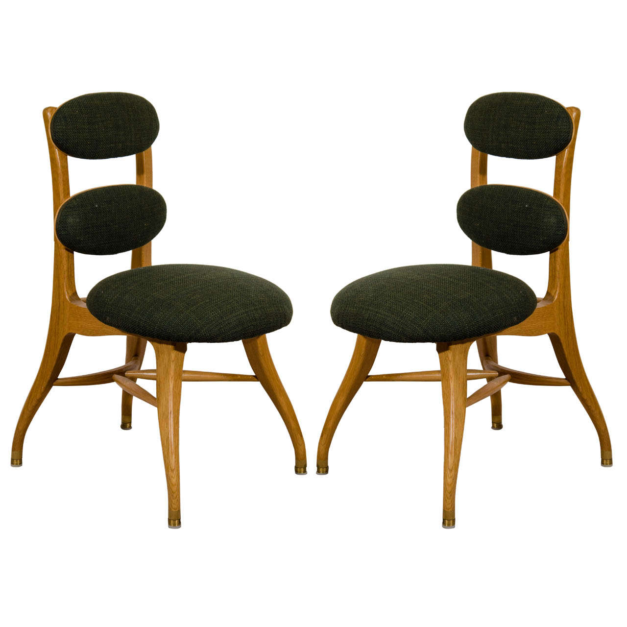 A Mid Century Set Of Four Wooden Sculptural Dining Chairs By Poul Volther At