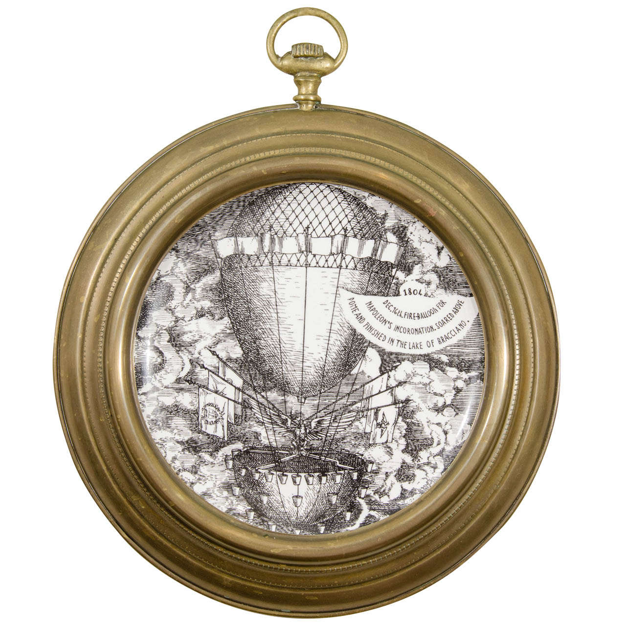 Mid century pair of fornasetti montgolfiere ballooning plates in a pair of 1955 vintage fornasetti montgolfiere ballooning porcelain plates mounted in pocket watch jeuxipadfo Image collections
