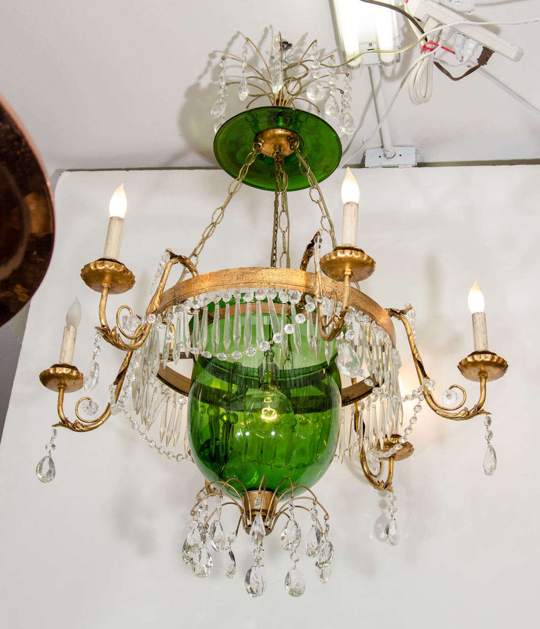 A vintage green glass bell jar chandelier whanging crystals at 1stdibs a vintage four light green glass bell jar chandelier with crystals suspended from an ornate aloadofball Image collections
