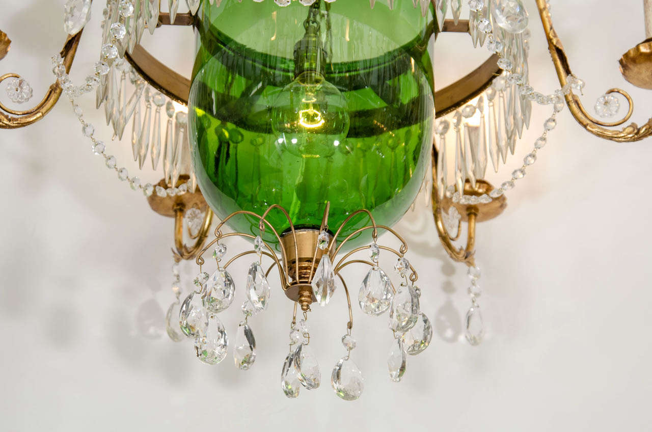 A vintage green glass bell jar chandelier whanging crystals at 1stdibs mid century modern a vintage green glass bell jar chandelier whanging crystals for arubaitofo Choice Image