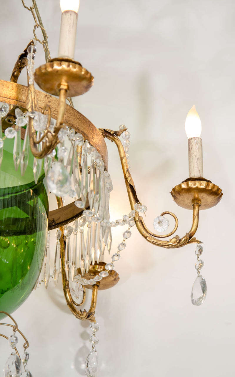 A Vintage Green Glass Bell Jar Chandelier W/Hanging ...