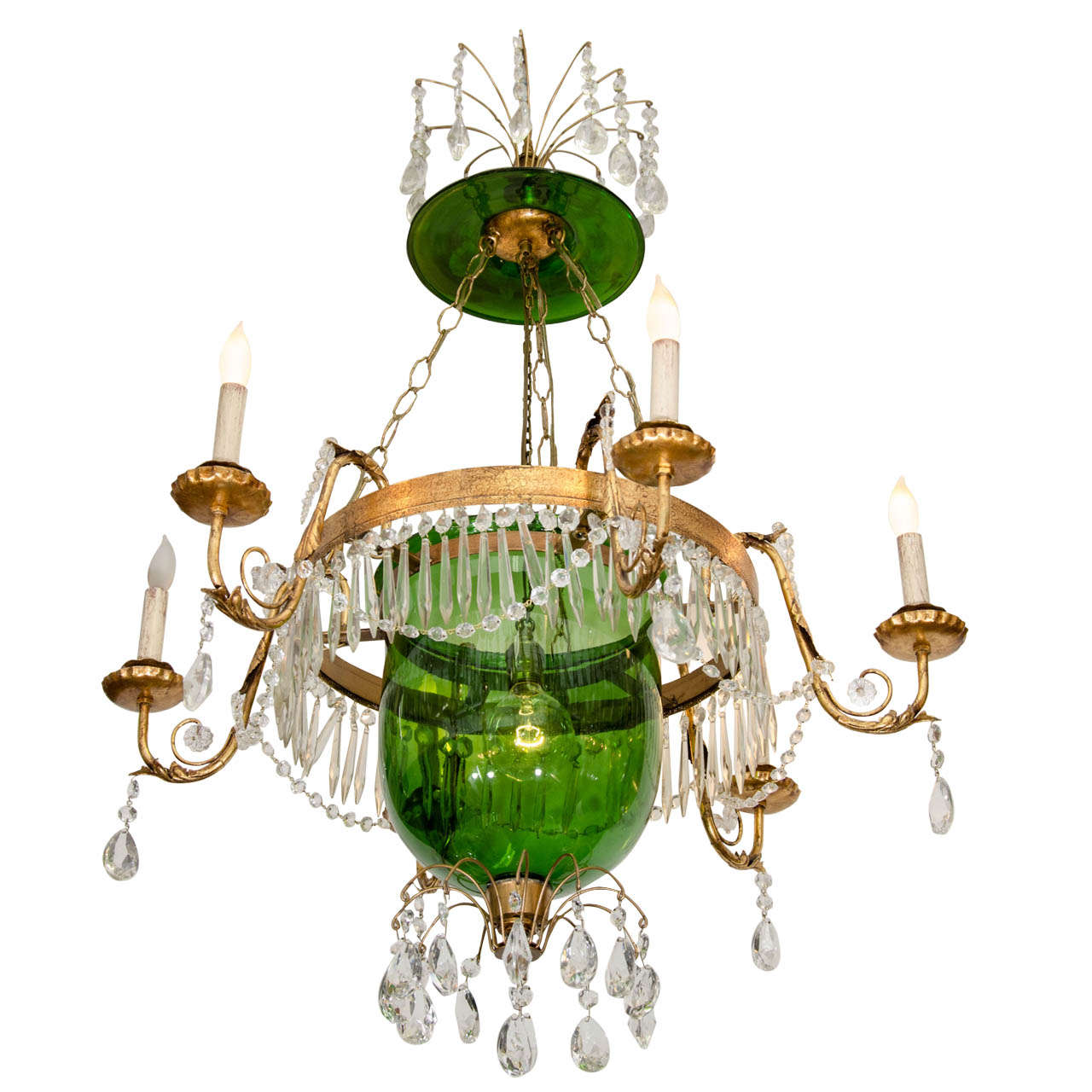 A vintage green glass bell jar chandelier whanging crystals at 1stdibs a vintage green glass bell jar chandelier whanging crystals for sale arubaitofo Choice Image