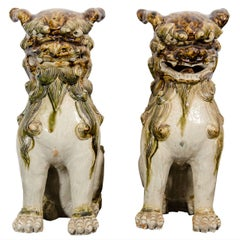A Pair of Late Edo Period Sculptural Japanese Porcelain Foo Dogs