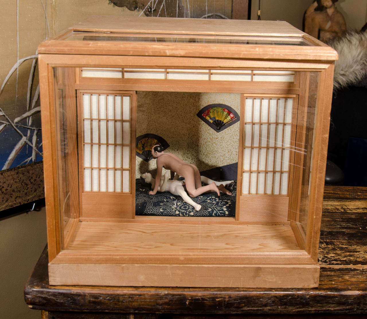 A Japanese Erotic Or Shunga Ningyo Light Box From The Meiji Period At 1stdibs