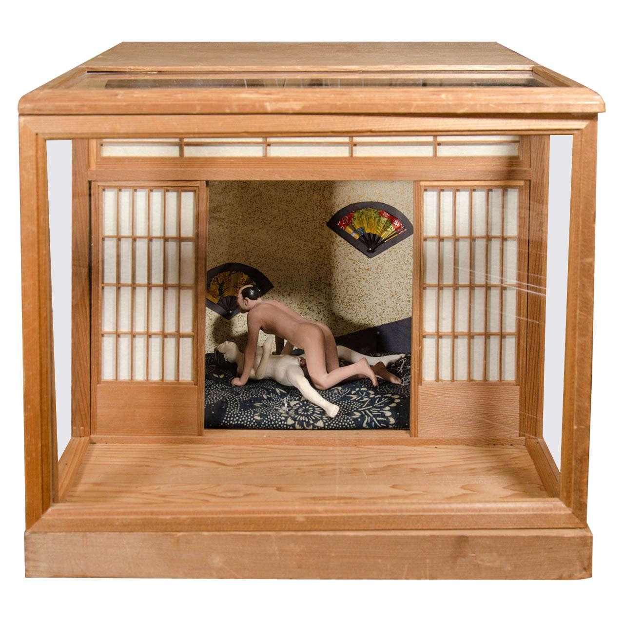 a japanese erotic or shunga ningyo light box from the