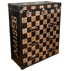 A Vintage Checkered Trunk Form Chest by Andrew Martin
