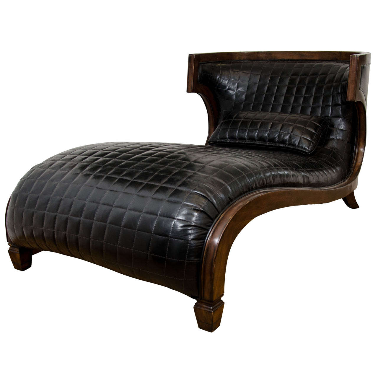 A vintage curvaceous black leather wide chaise longue at for Black leather chaise