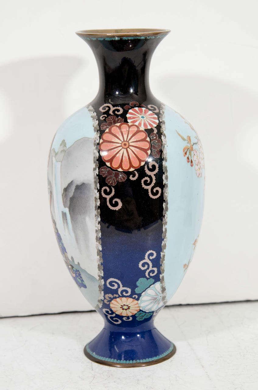Porcelain A Japanese Blue Cloisenne Meiji Period Vase with Samurai Figures For Sale
