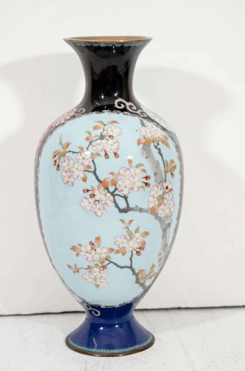 A Japanese Blue Cloisenne Meiji Period Vase with Samurai Figures For Sale 1