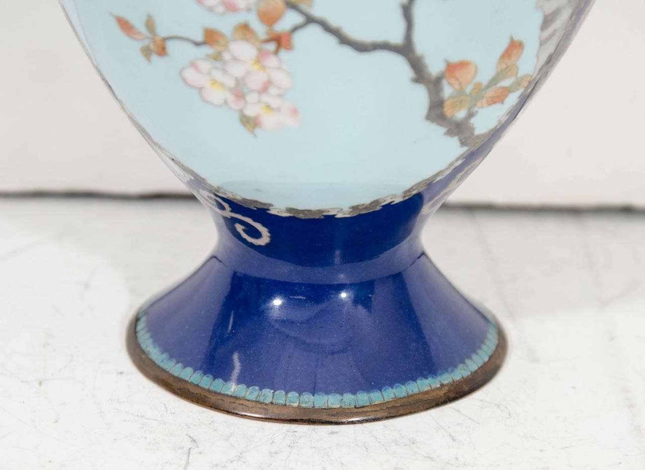 A Japanese Blue Cloisenne Meiji Period Vase with Samurai Figures For Sale 2