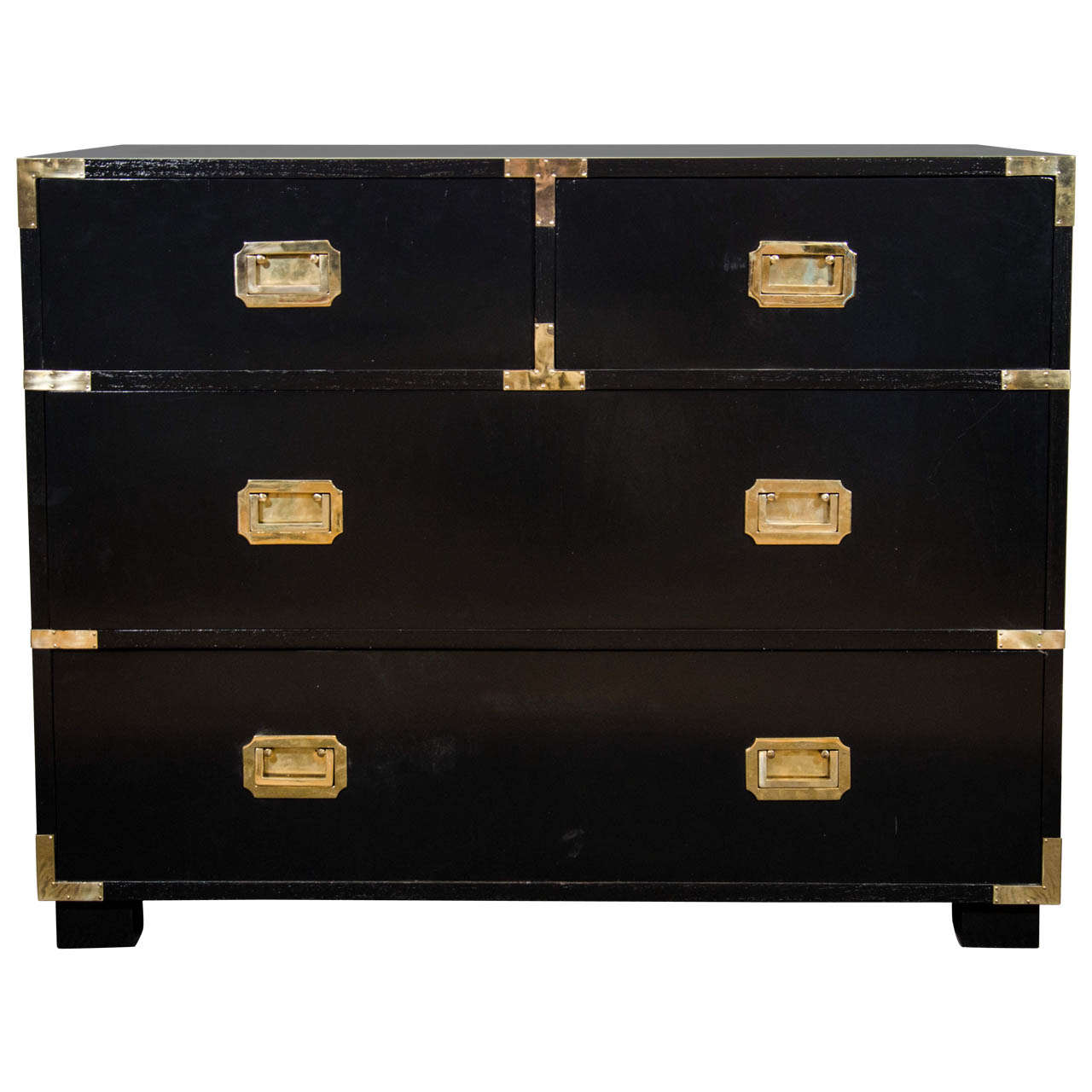 A Mid Century Black Lacquered Campaign Chest With Brass Hardware 1